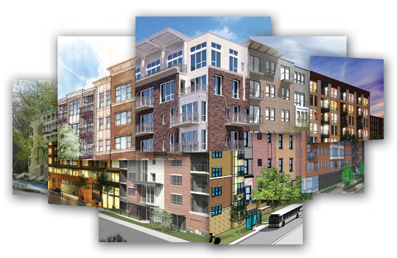 Twin Cities apartment rendering collage
